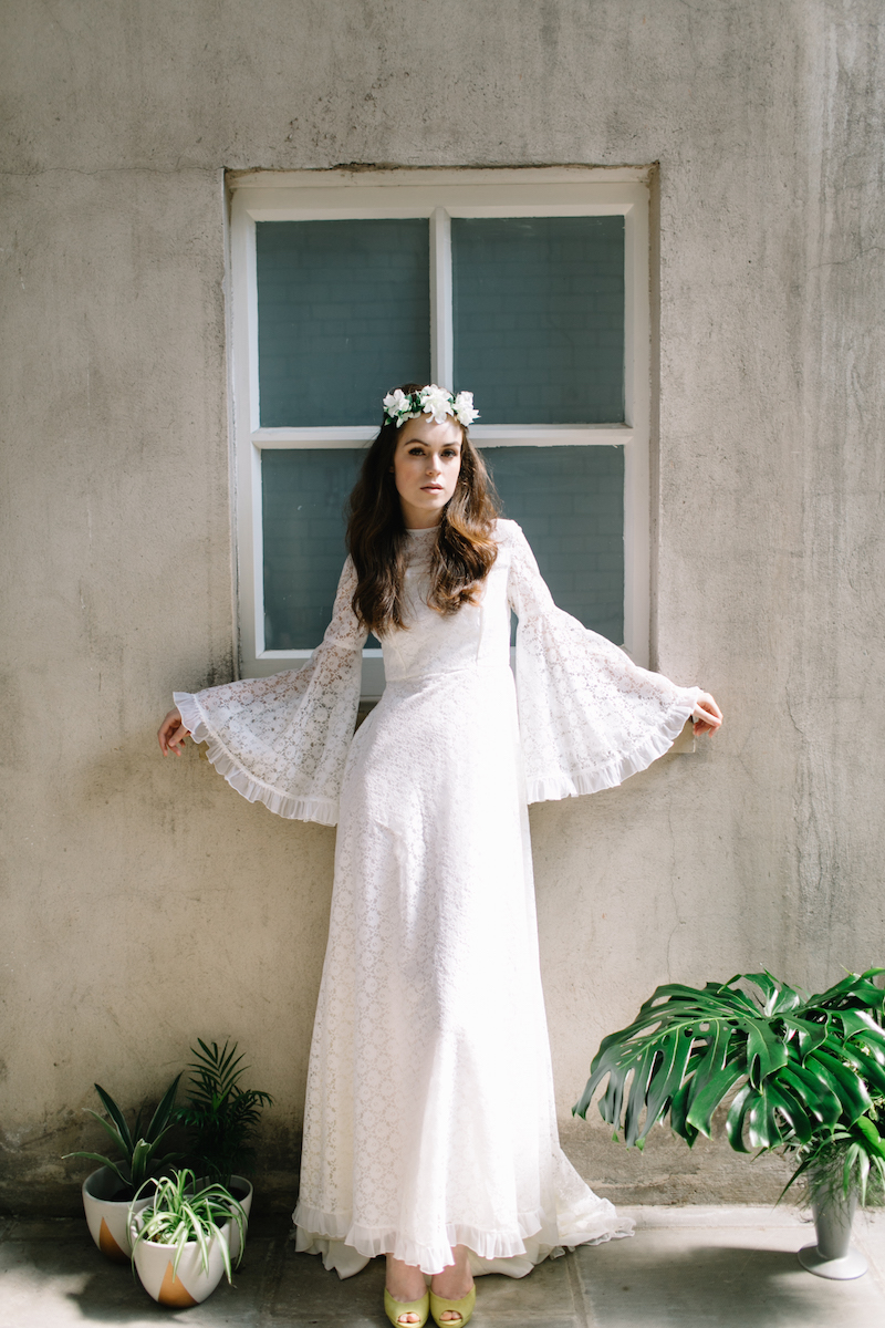 long sleeve 1970s bohemian wedding dress
