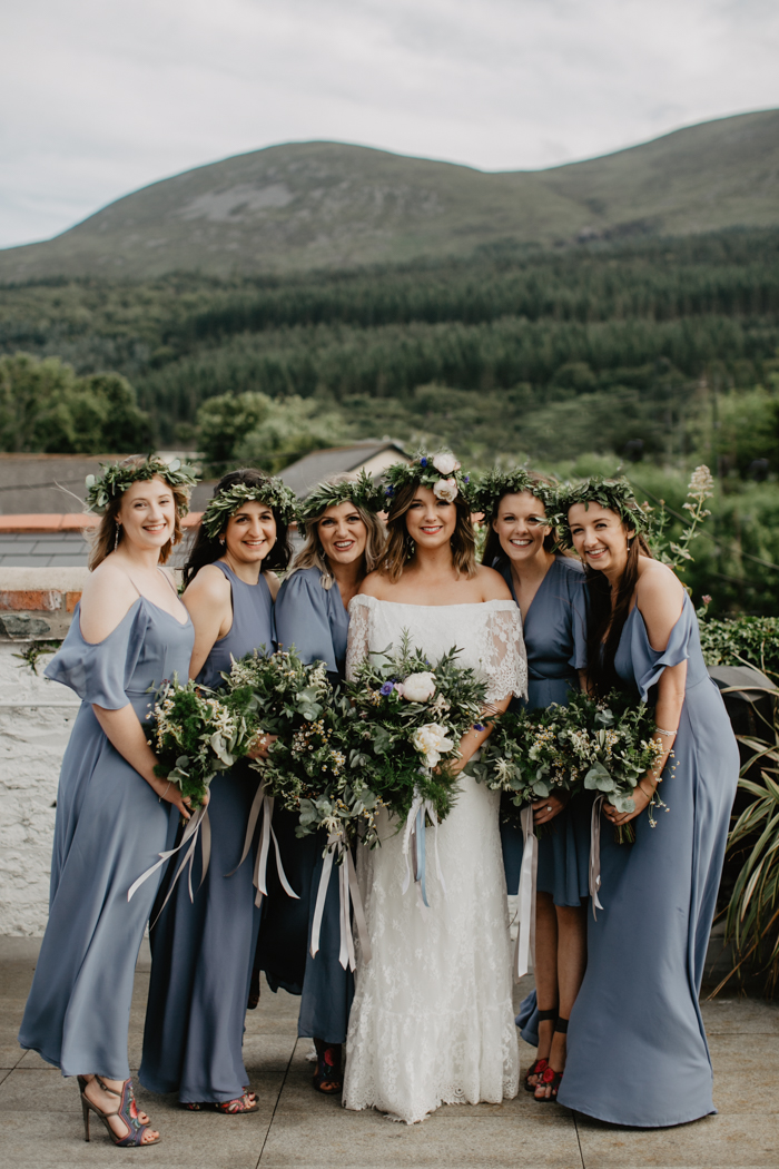 Hannah wears the Laurence gown by Daughters of Simone and Bridesmaids dresses by Rewritten