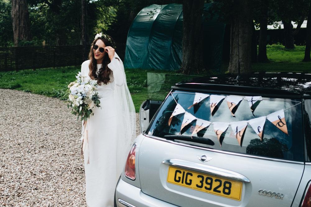 cool bride wearing Minna hepburn