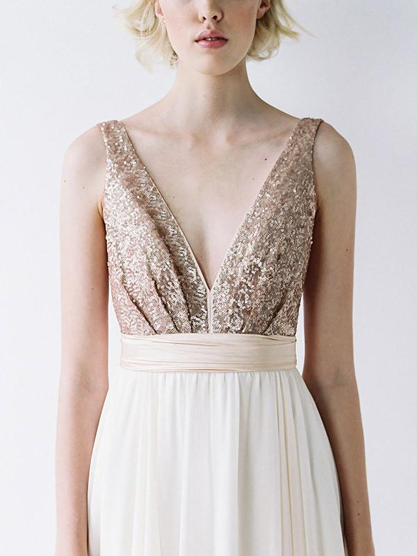 rose gold sequin truvelle dress