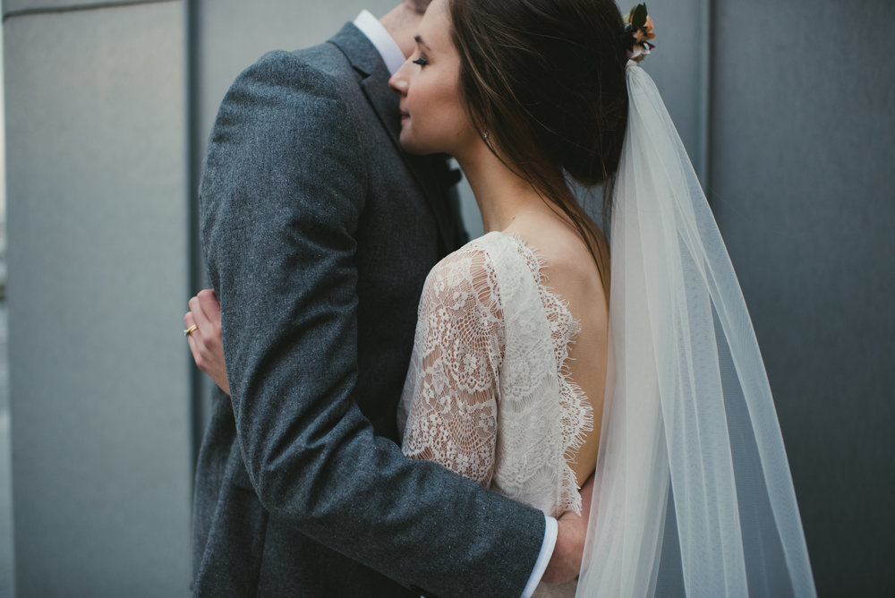 Emily wears Tessa by Daughters of Simone with A12 veil