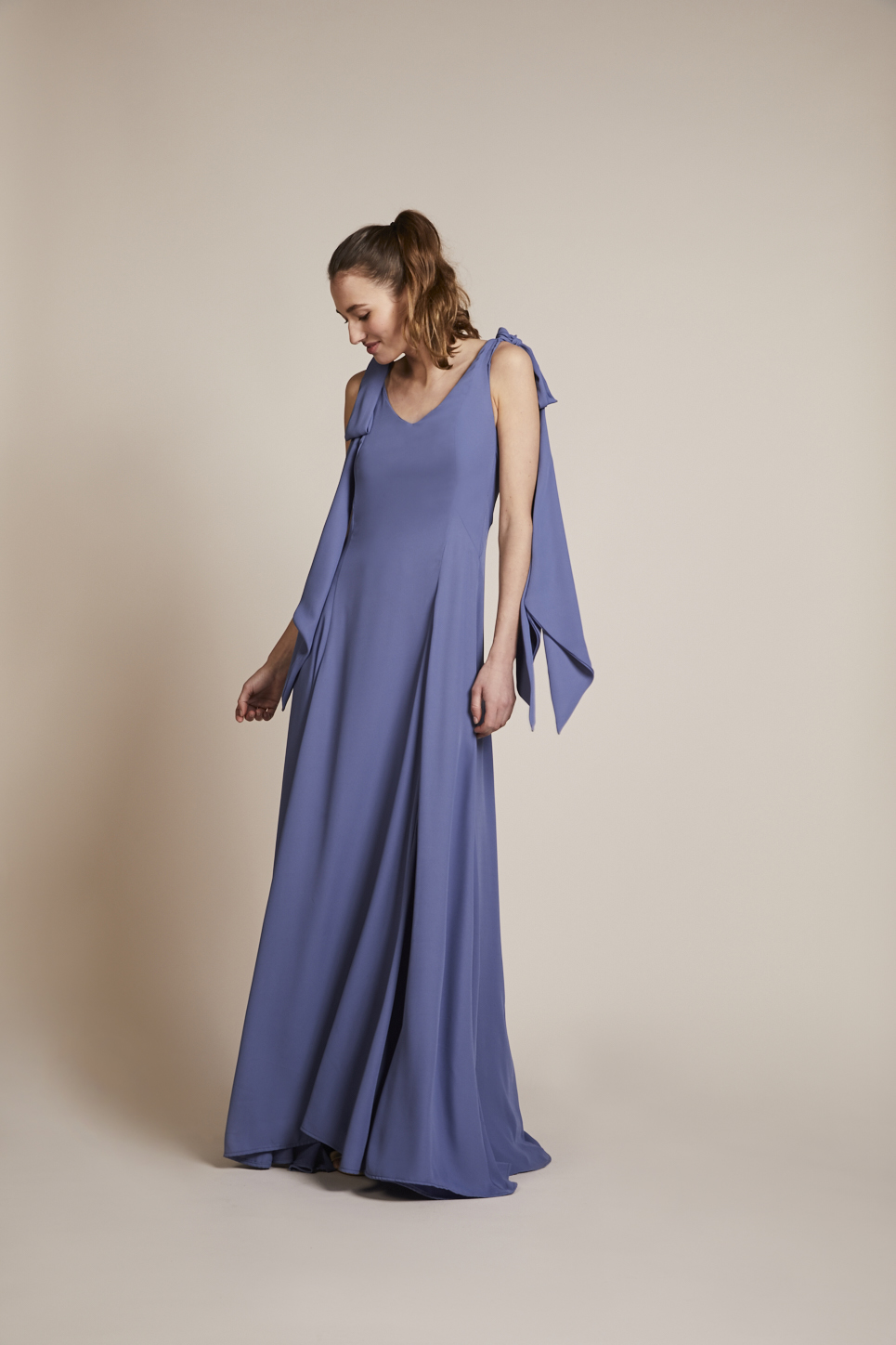 Rewritten Seville dress in bluebell.