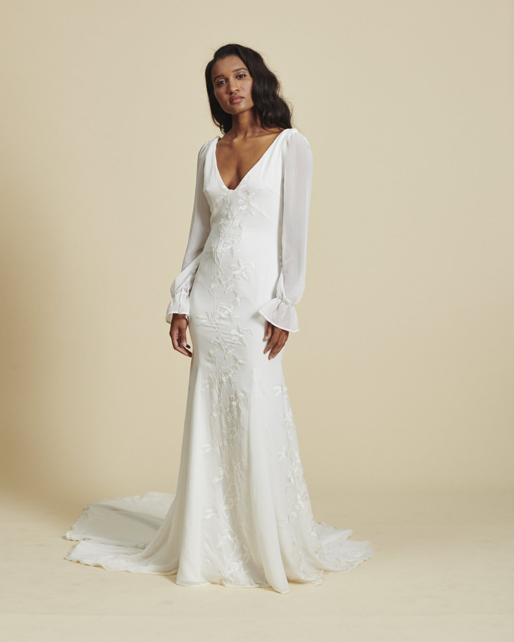 Daughters of Simone long sleeve chiffon gown
