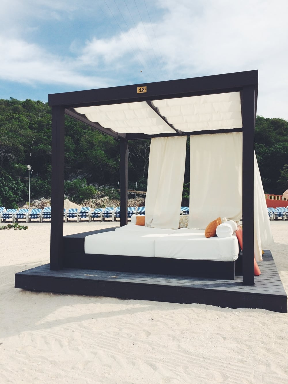 Our private beach bed in Labadee. We split it between all 6 of us, so worth the money!