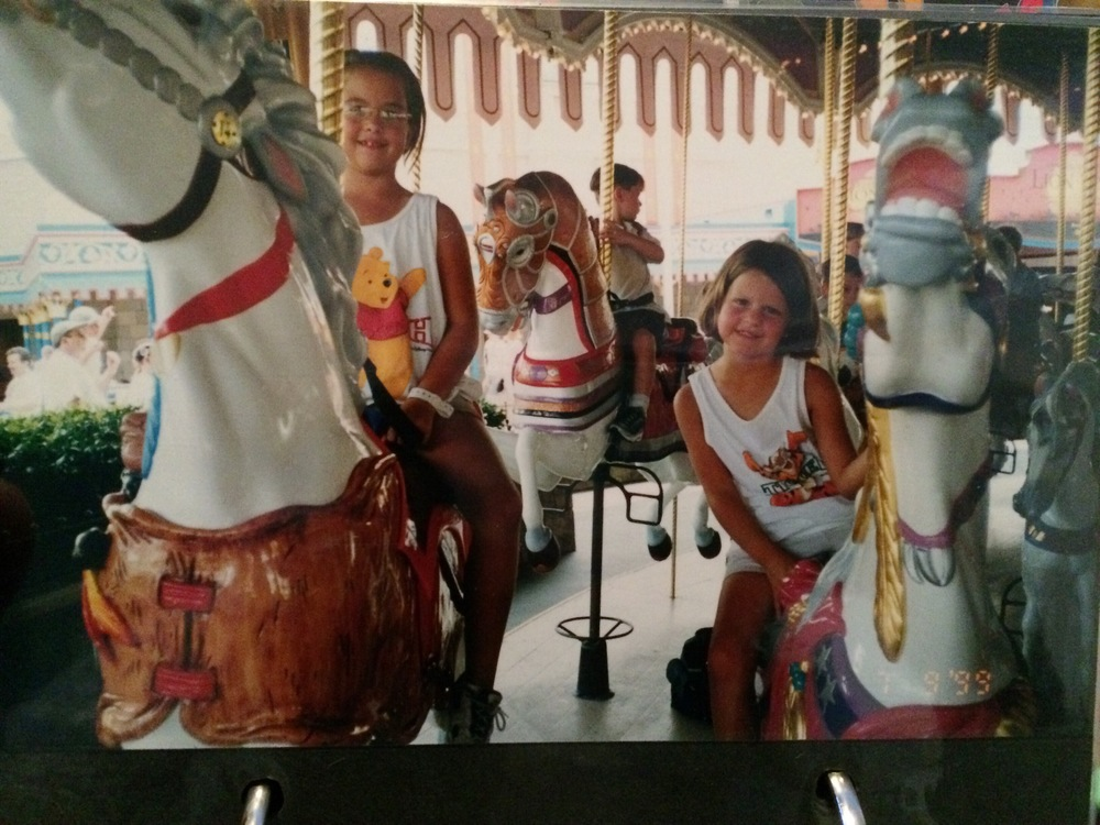 Rachael and I sometime around 1999? Maybe. Also that horse on the right is killing me.