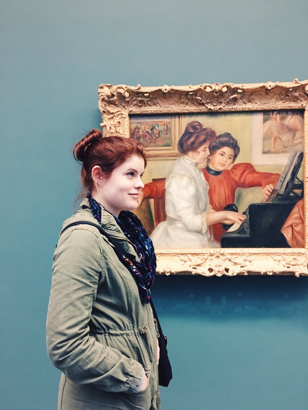 At L'Orangerie. I was telling her she looked just a bit like the woman in the portrait...