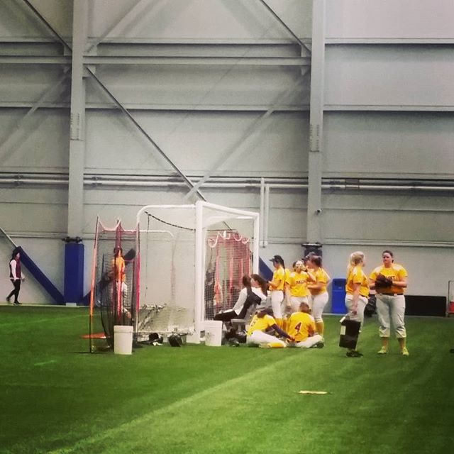 Beloit College Girls Fastpitch Softball team getting their game plan together before tonight's doubleheader at Mercy Health Sportscore 2 #fastpitchsoftball # softball #Indoorsportscenter #mercyhealthsportscore