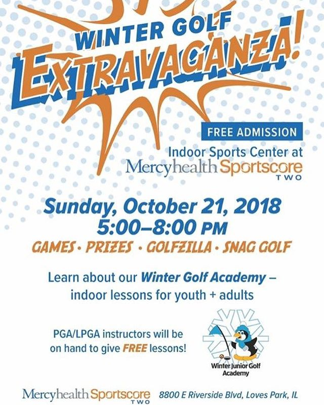 DID YOU KNOW? The Indoor Sports Center at Mercyhealth Sportscore Two will be hosting the Winter Golf Extravaganza on October 21st! This FREE event includes activities such as golf lessons from PGA/LPGA instructors, Golfzilla, Snag Golf, as well as games and prizes! Hope to see you here!