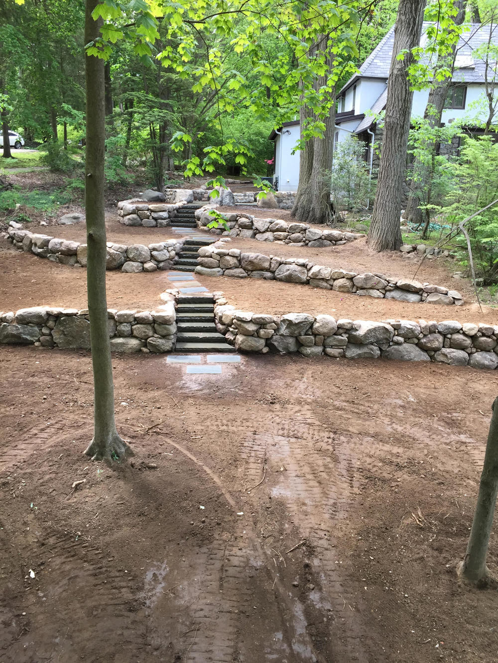 Beautiful Stone Walk Way U0026 Retaining Wall Project Near Completion In  Mahwah, NJ U2014 Grasskeepers Landscaping U0026 Construction Inc.