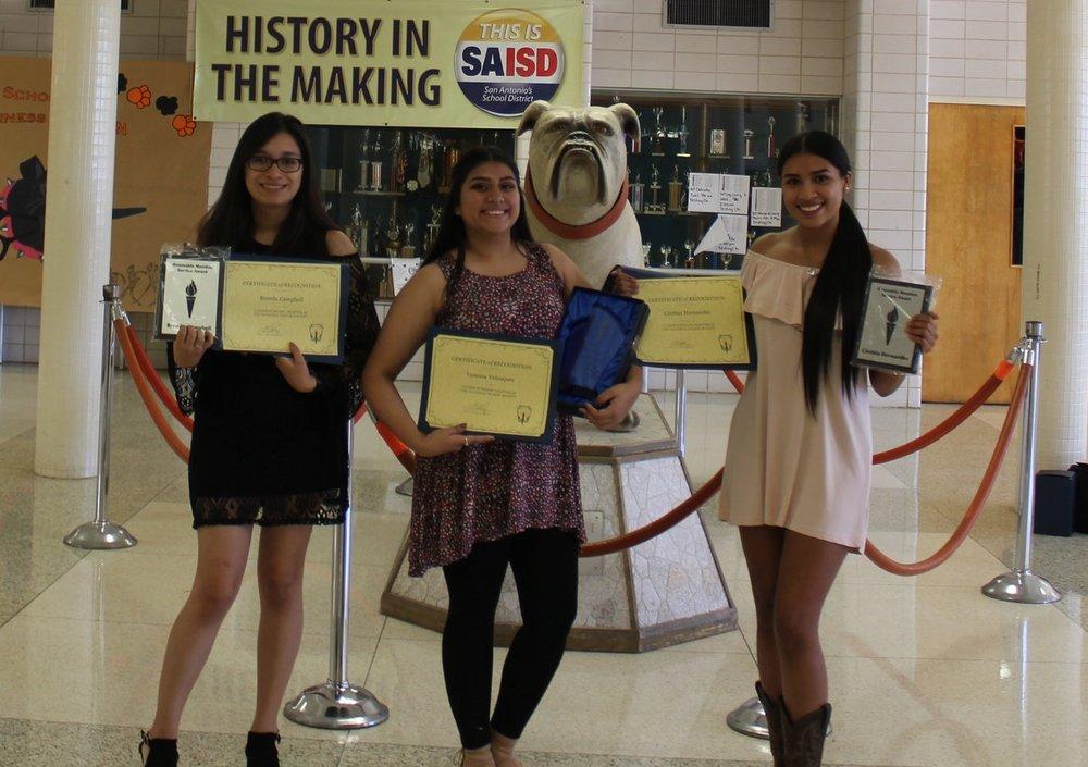 Brenda Campbell - Honorable Mention      Vanessa Velasquez - Service Award     Cinthia Hernandez - Honorable Mention