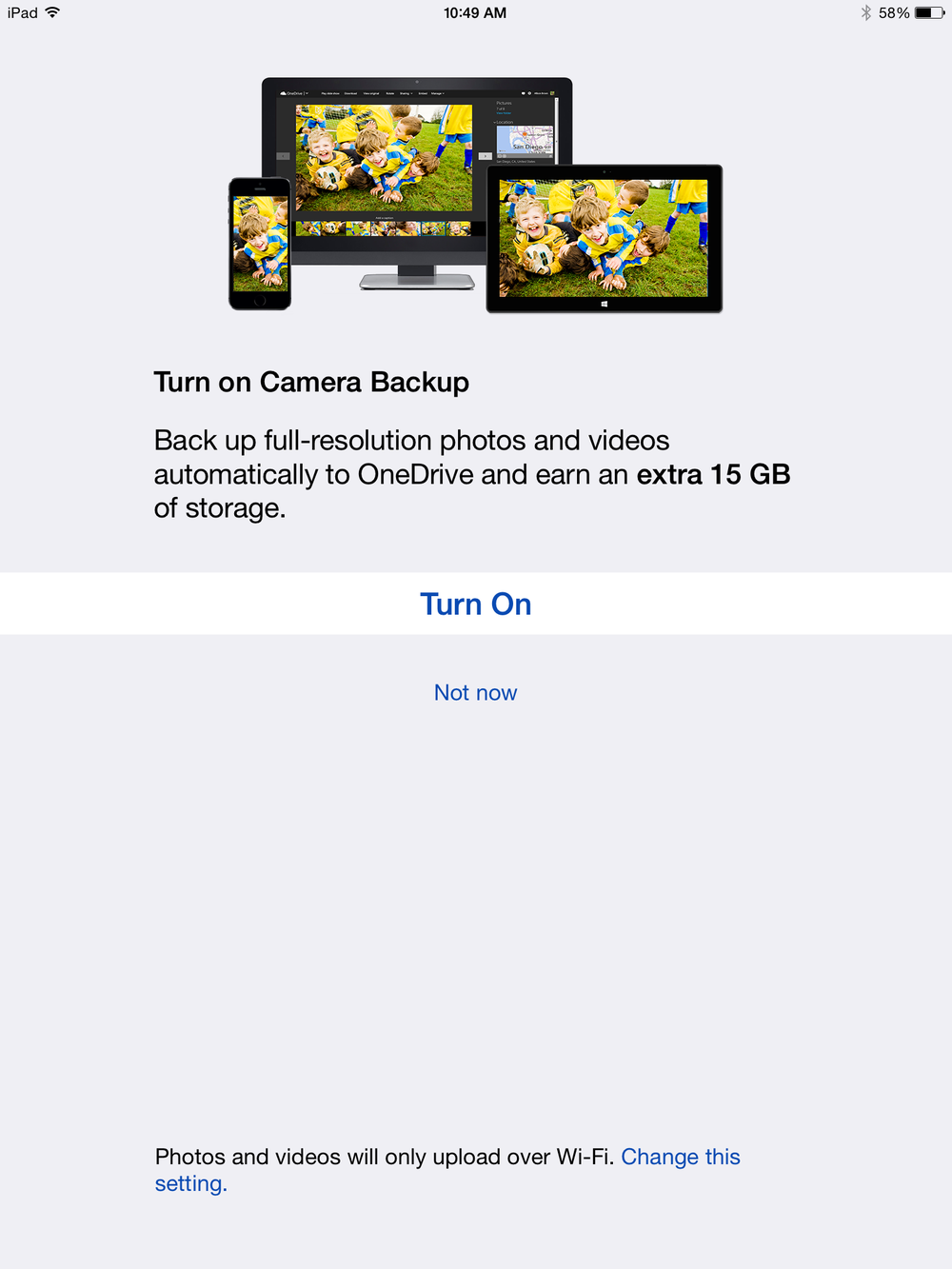 "Tap ""Turn On"" to receive an extra 15GB of OneDrive cloud storage."