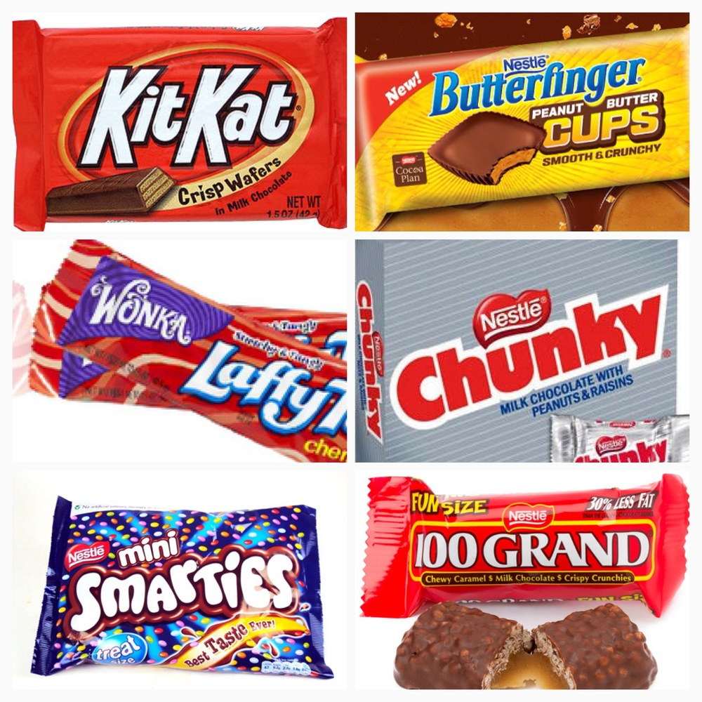 Nestlé is the umbrella corporation that owns some of your favorite candy including KitKat, Butterfinger, Wonka, , Chunky, Smarties, 100 Grand, Power Bars and many more.