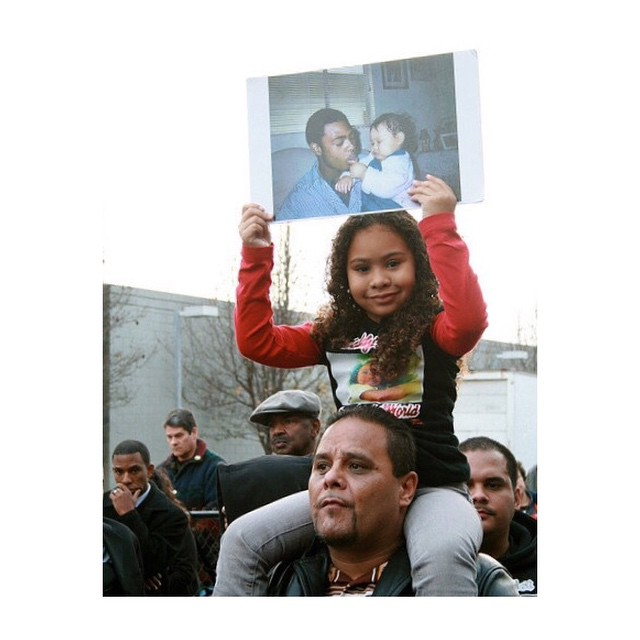 At a demonstration the daughter of ‪Oscar Grant‬ can be seen, now imagine how the future generations might feel about all the violence and corruption caused by law enforcements...