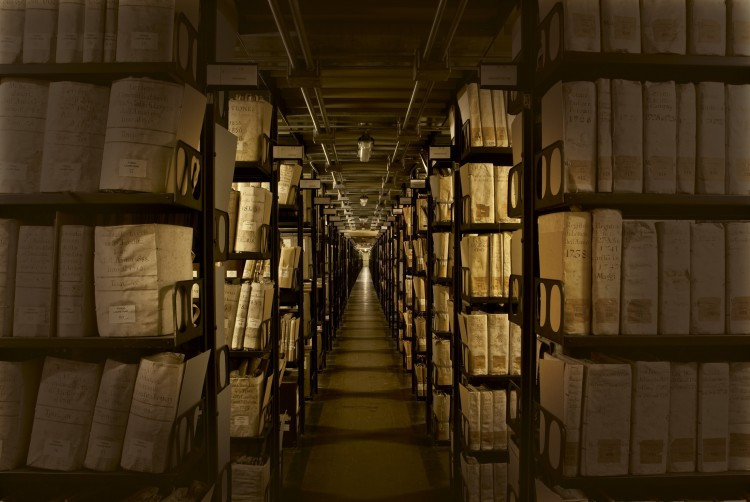 """This area of the Vatican Secret Archives is known as the """"Gallery of the Metallic Shelves."""" It houses records of the Roman Curia and other material. (Photo courtesy of Vatican Secret Archives and VdH Books/CNS)"""