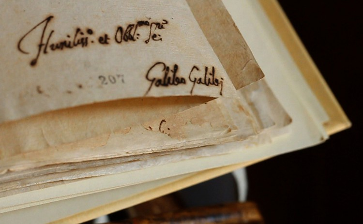 The signature of astronomer Galileo Galilei from the records of his trial. (Photo by Vatican Secret Archives via CNS)