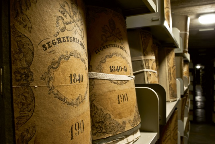 Documents from the Vatican's Secretariat of State are stored in an underground bunker of the Vatican Secret Archives. (Courtesy of Vatican Secret Archives and VdH Books via CNS)