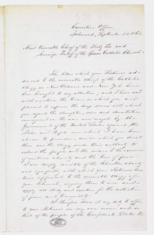 An 1863 letter from Jefferson Davis, president of the secessionist Confederate States, to Pope Pius IX is preserved in the Vatican Secret Archives. Historians said Davis' letter, filled with references to the Civil War, was a ploy to convince the pope to recognize the independence of the Confederacy and establish diplomatic relations. (Courtesy of Vatican Secret Archives via CNS)