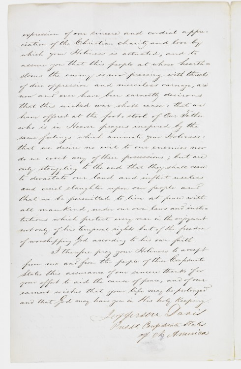 The second page of an 1863 letter from Jefferson Davis. (Courtesy of Vatican Secret Archives via CNS)