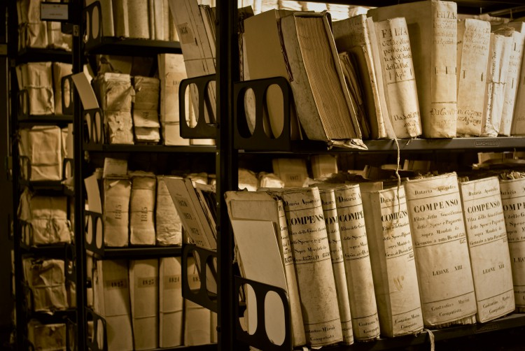 """This area of the Vatican Secret Archives is known as the """"Gallery of the Metallic Shelves."""" It houses records of the Roman Curia and other material. (Courtesy of Vatican Secret Archives and VdH Books via CNS)"""