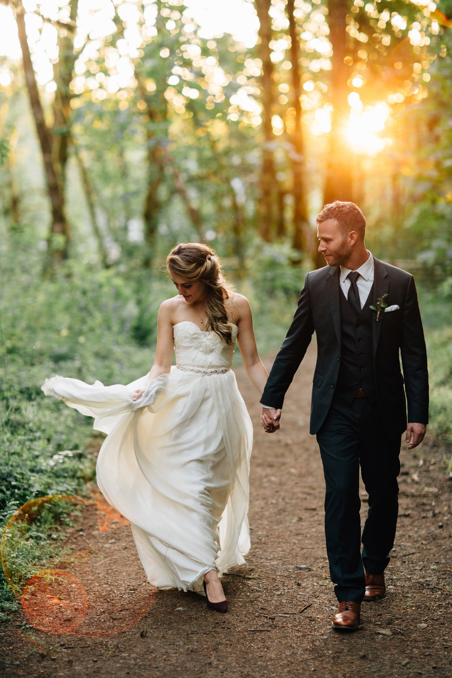 romantic bride and groom walk