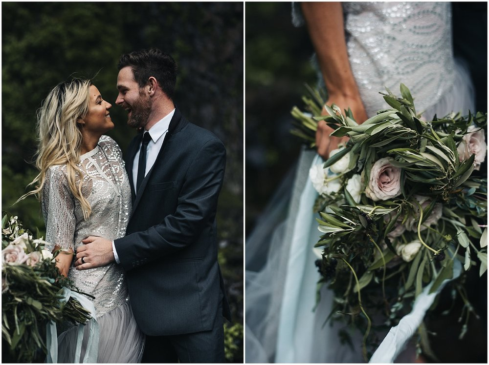 beautiful wedding dress and bouquet in waterfall
