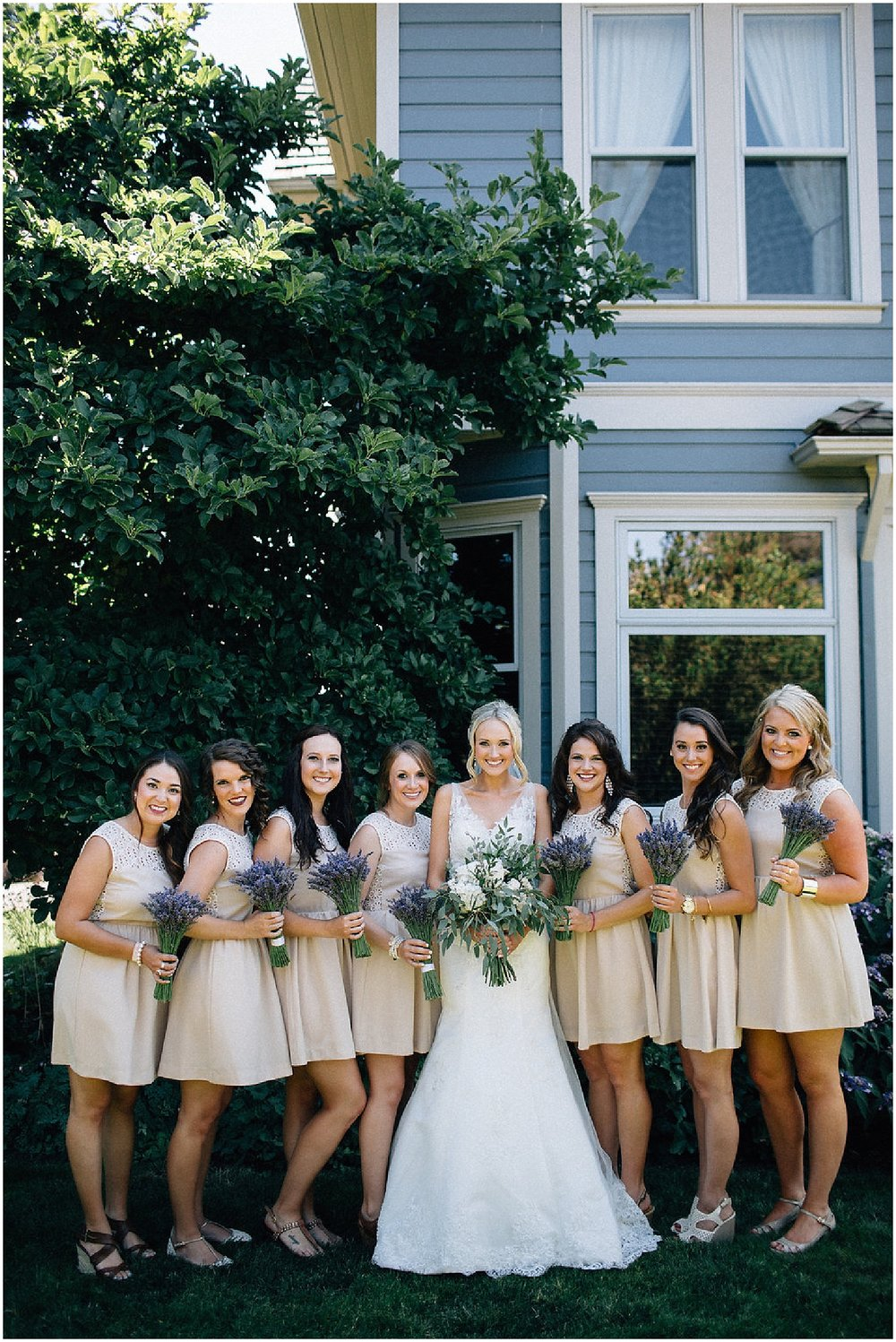 lavender bridesmaids bouquets and free-flowing bridal bouquet