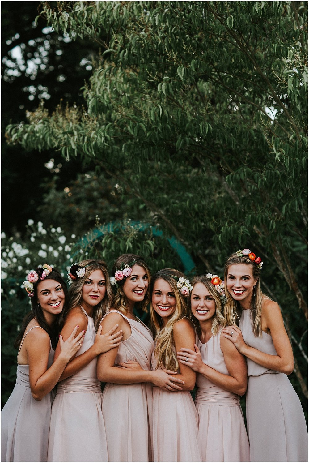 flower crowns on bridesmaids
