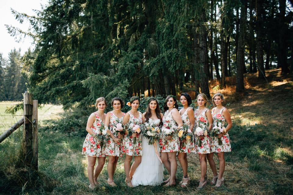 wedding flowers on floral dresses