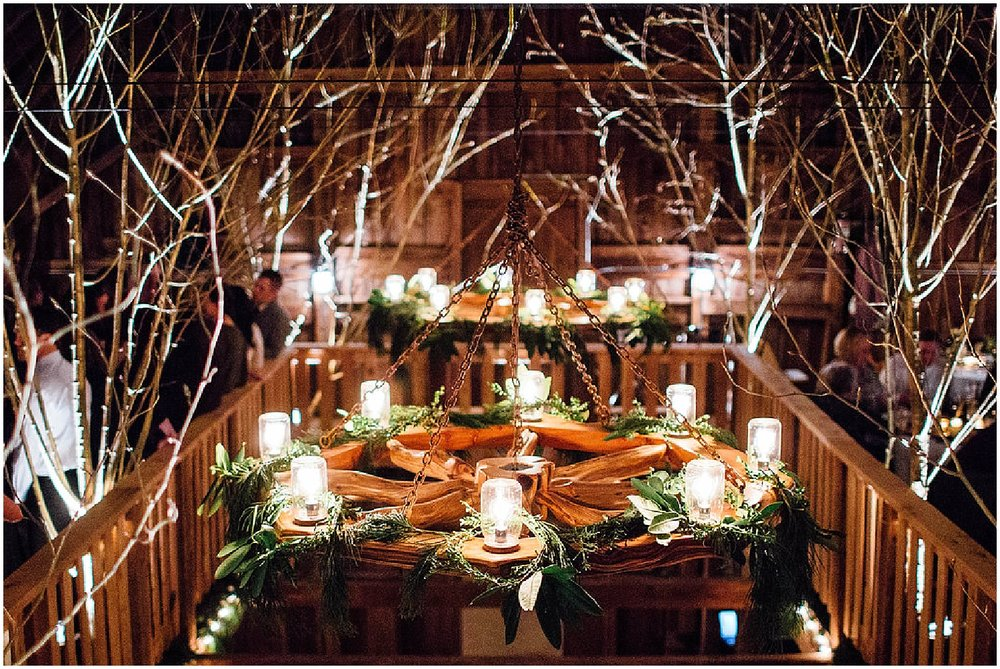 winter barn wedding reception installations