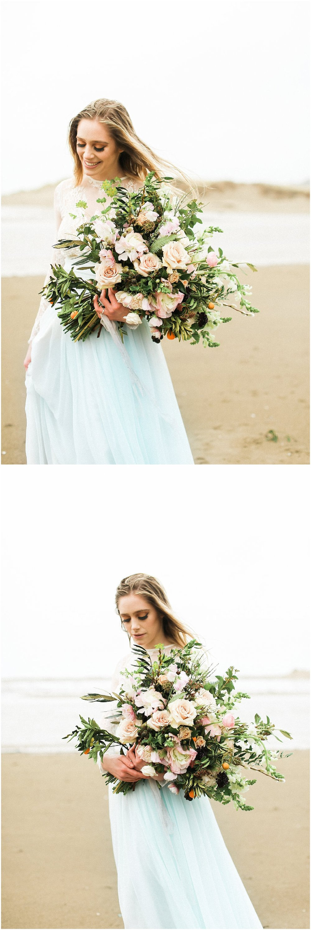bride and floral bouquet