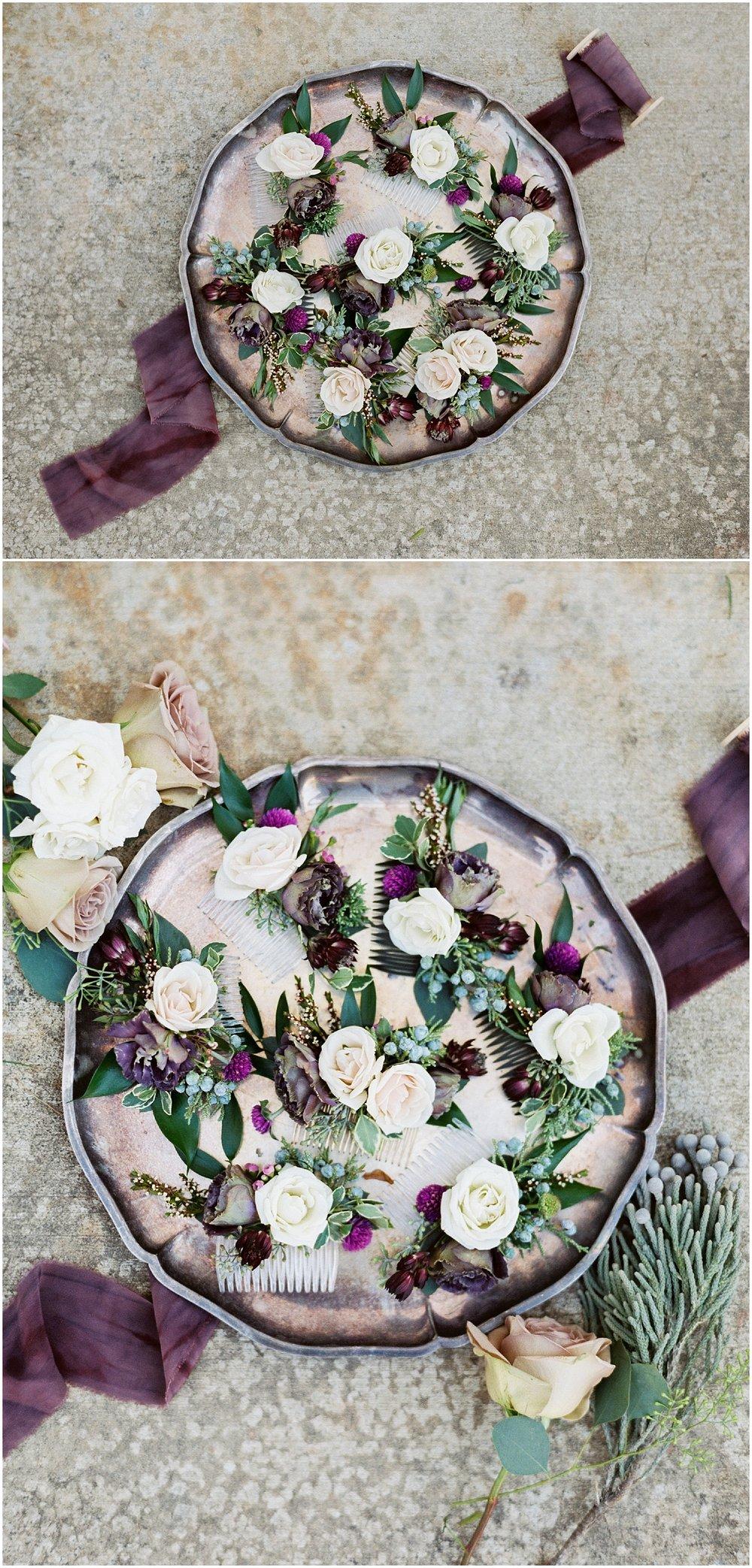 deep burgandy flower hairpieces