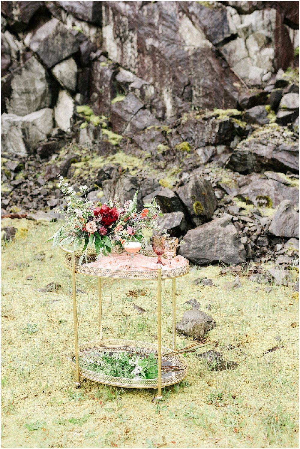 drink cart with floral arrangment