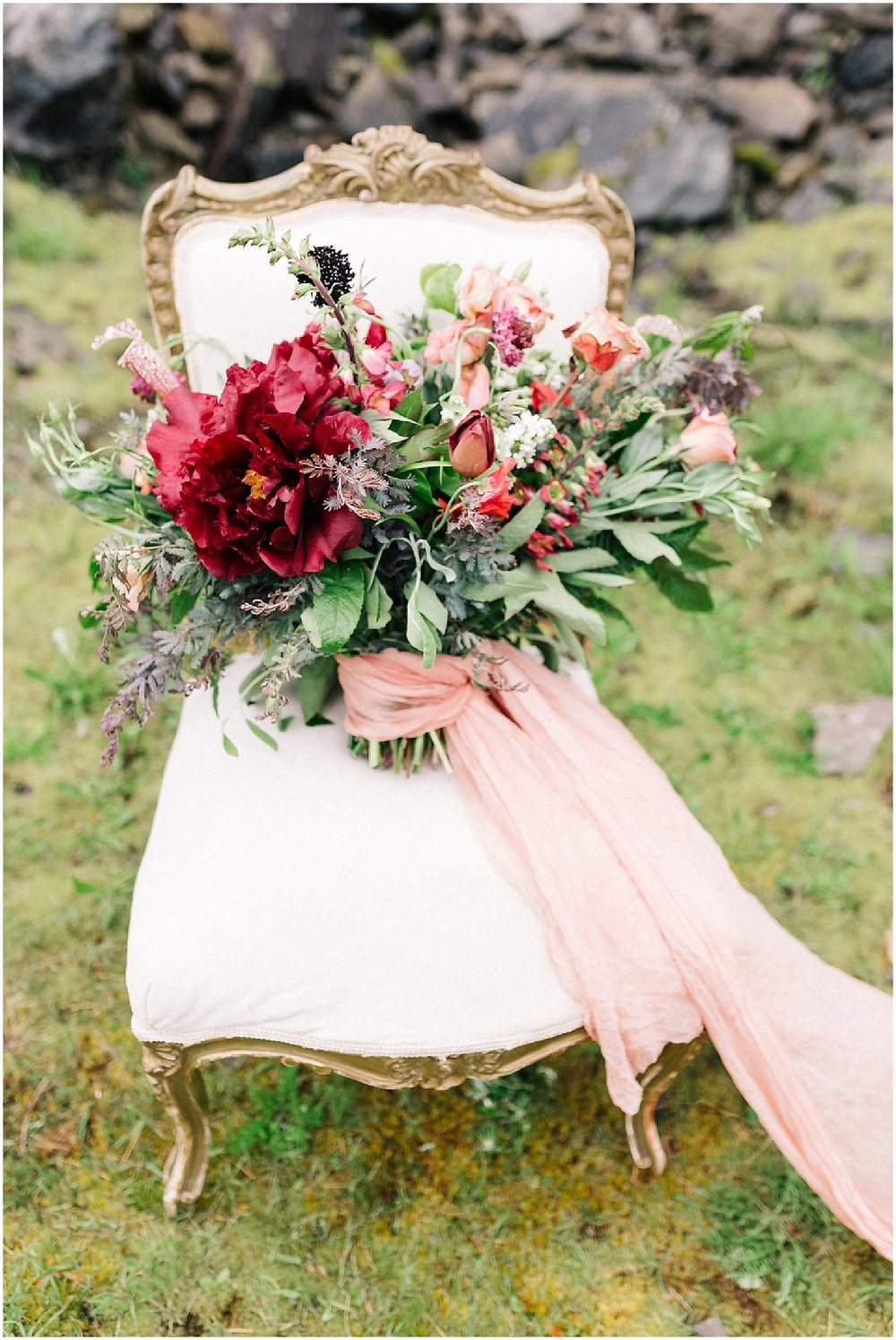 lush full bridal bouquet on the chair