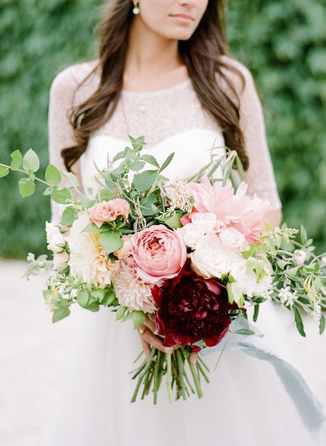 wife with her bridal bouquet