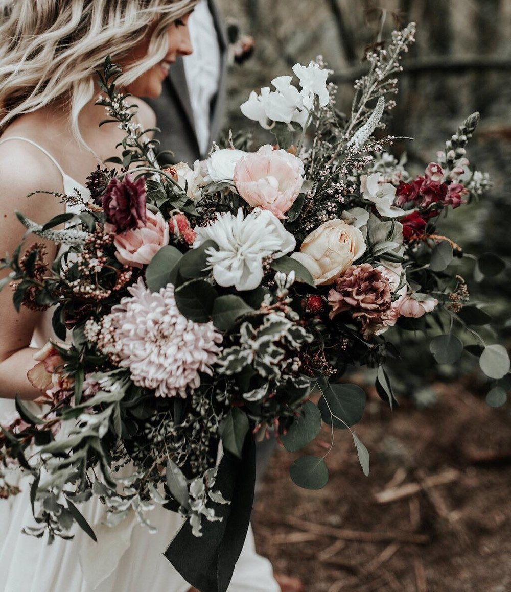 Neutrals with deep Burgundy - Our most popular color scheme next year!(Karra Leigh Photography)
