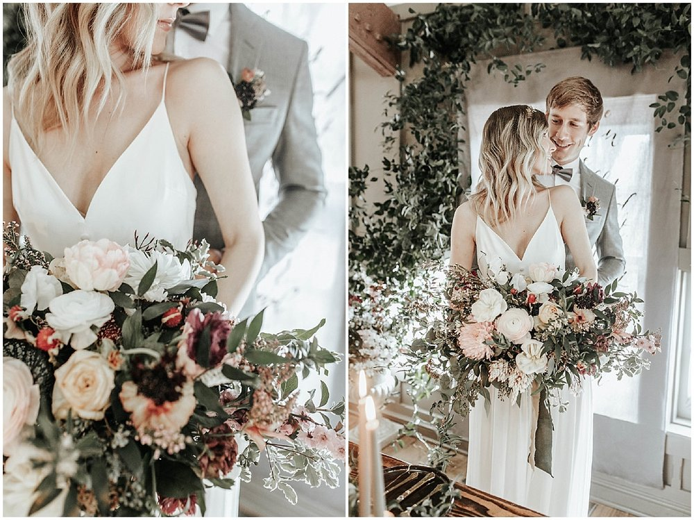 newlywed romance and bouquet
