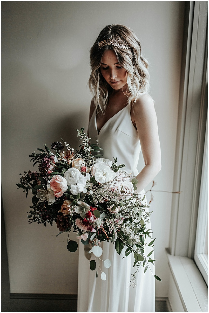 bridal bouquet by the window