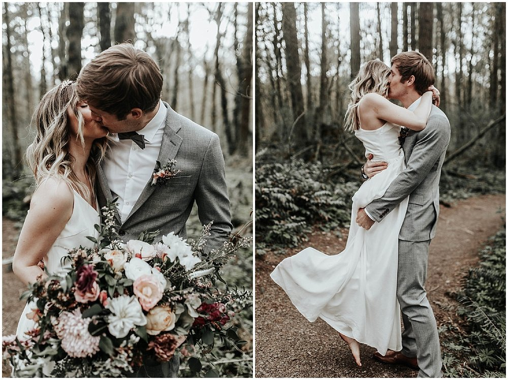 bride and groom kiss in the forest