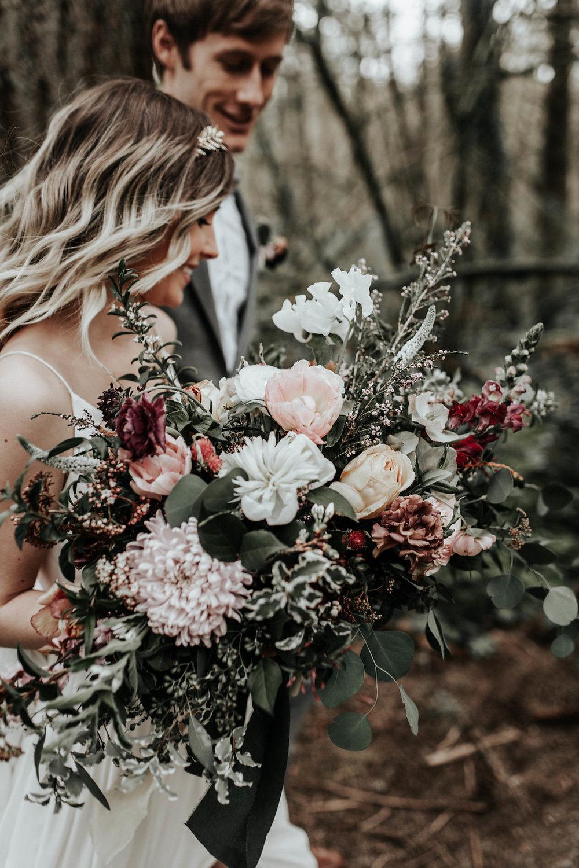 dhalias in a bridal bouquet
