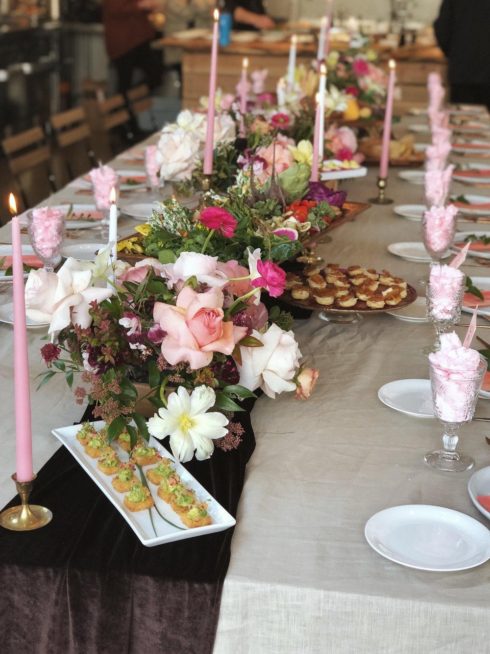 table florals and snacks