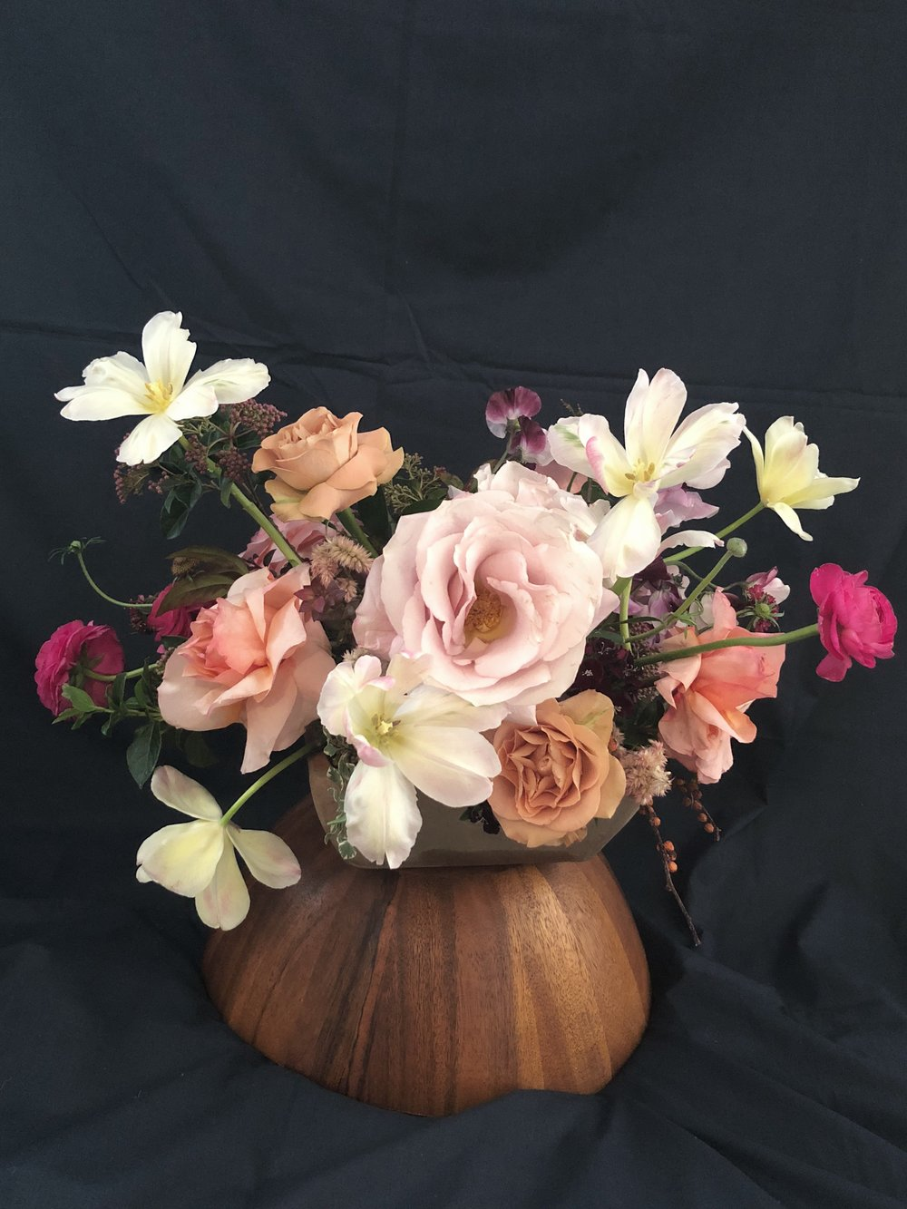 florals in a coconut vase