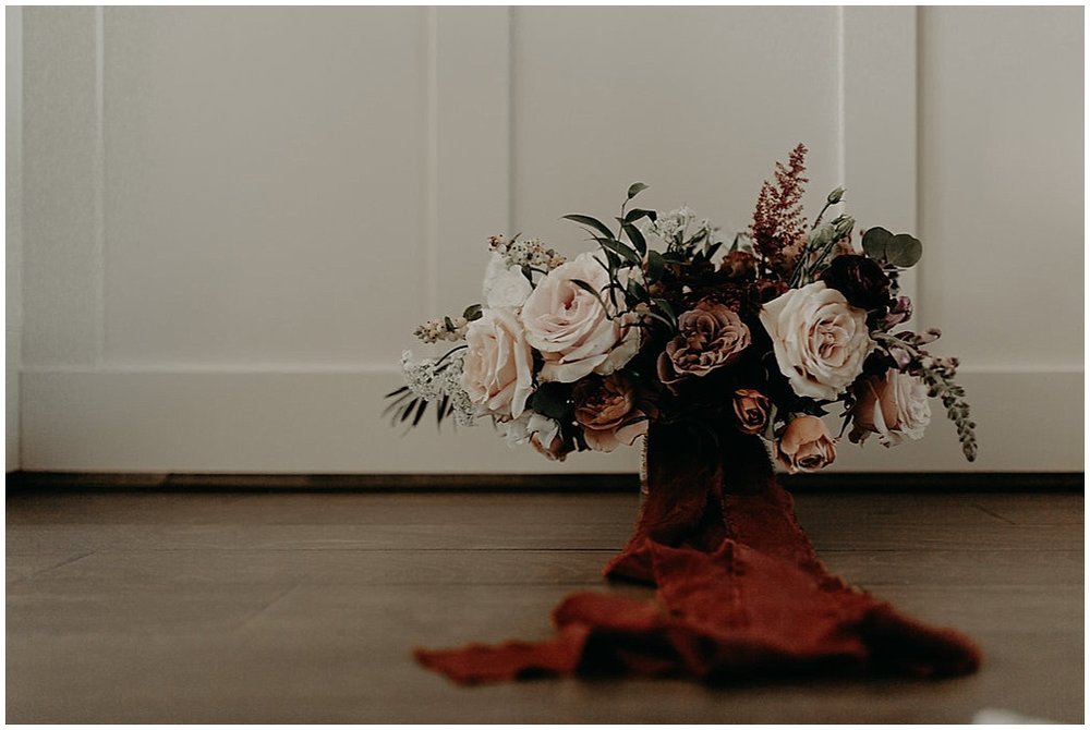 bridal bouquet in ribbon