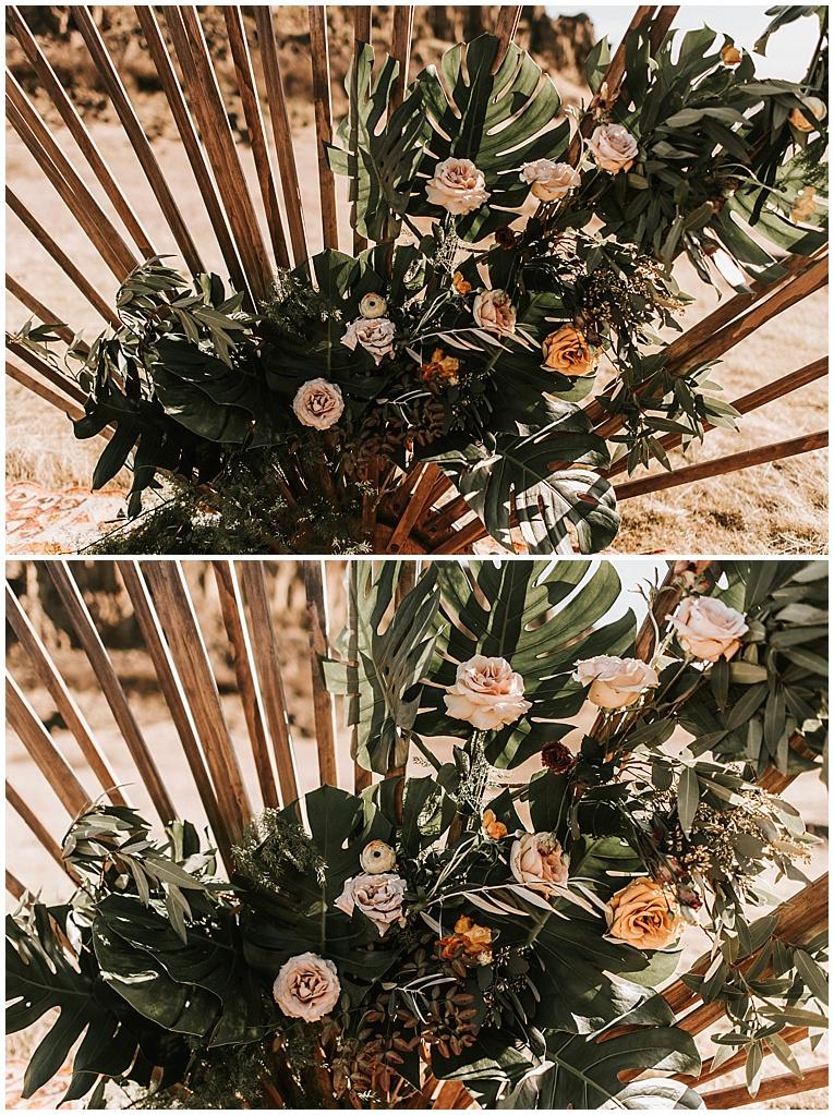 tropical and garden wedding installation