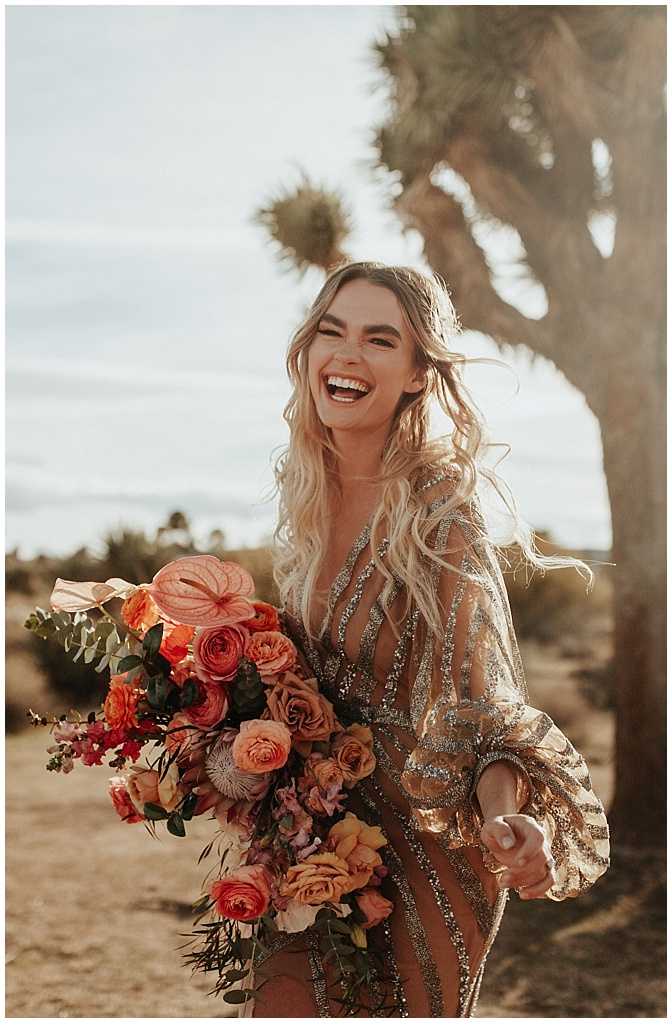 boho bride with flowers