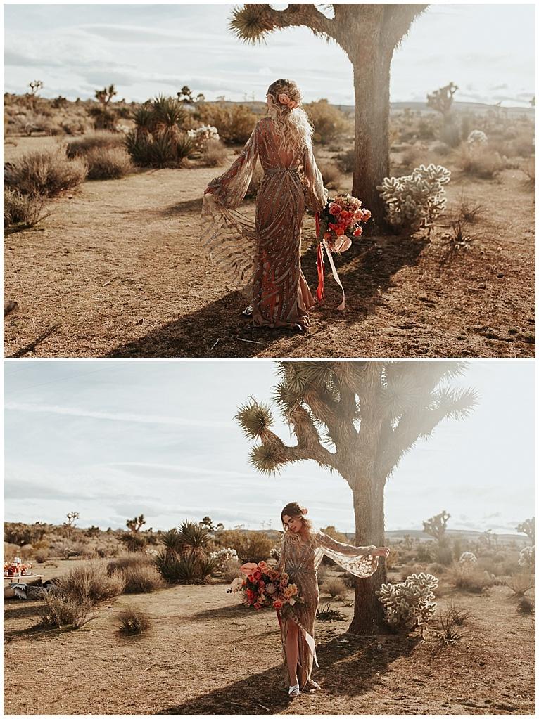 bride with boho florals