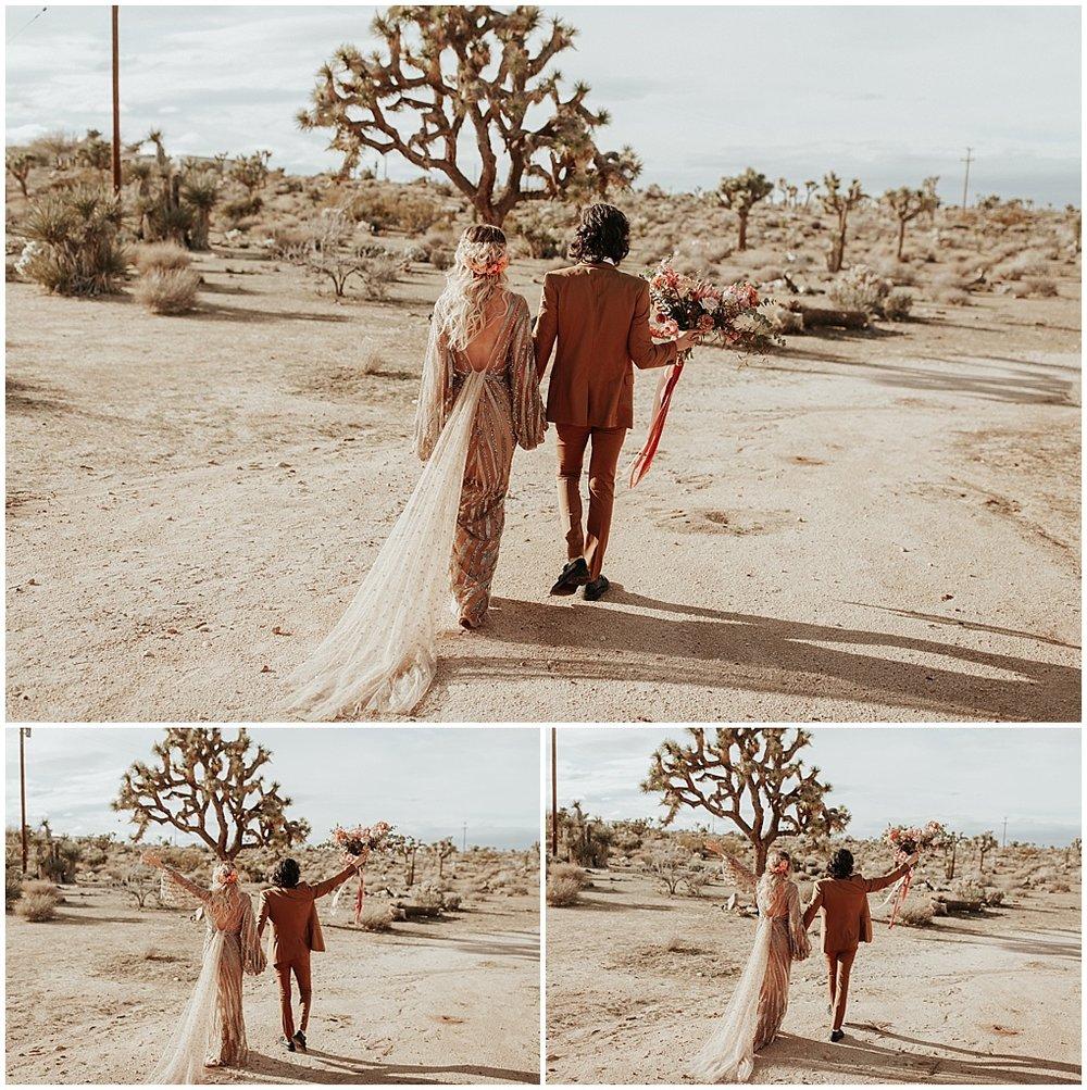 newlyweds sunset walk
