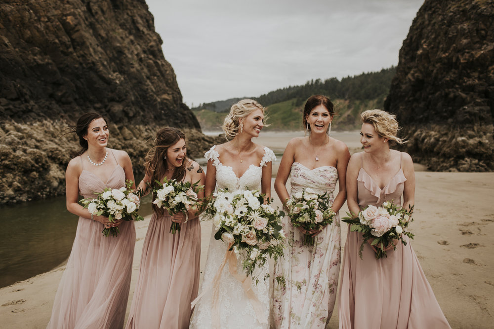 bridal party boho organic flowers