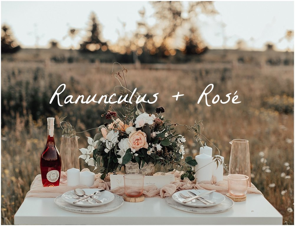 Ranunculus and Rose evening photoshoot