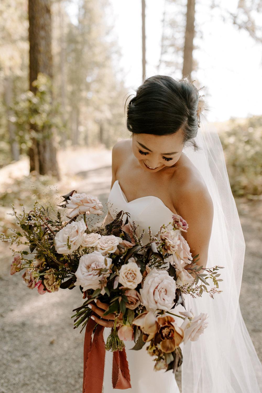 elegant boho wedding bridal bouquet