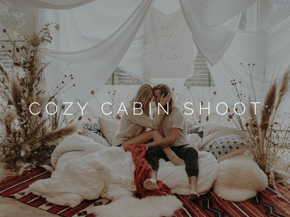 Cozy Cabin Couples Shoot Dried Flowes
